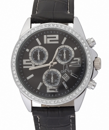 d'Arc Classy Silver/Black Leather Saat