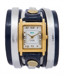 La Mer Collection Navy Metallic Silver Layer Saat