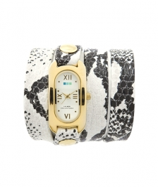 La Mer Collection White Black Snake Print Saat