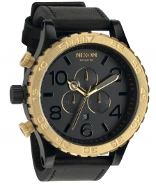 Nixon A124-1036 - Nixon 51-30 Chrono Leather Black/raw Gold Kol Saat