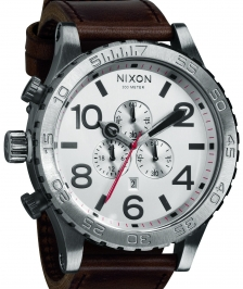 Nixon A124-1113 - Nixon 51-30 Chrono Leather Silver / Brown Kol Saat