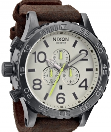 Nixon A124-388 - Nixon 51-30 Chrono Leather Gunmetal / Brown Kol Sa